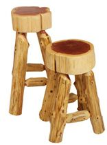 I particularly like the thick wood used for the seats on these log stools.  I am not sure what kind of wood it is, but it sure looks great.