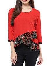 red Crepe Top - Online Shopping for Tops