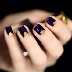Plum with gold nail art