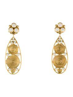 Temple St. Clair 18K Diamond Swirl Teardrop Earrings