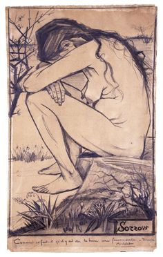 Vincent Van Gogh, Sorrow, lithography, 39.2 cm x 29.2 cm, The Hague, Van Gogh Museum, Amsterdam (Vincent Van Gogh Foundation) November 1882 Sorrow is one of Van Gogh's early masterpieces. The model behind the drawing was, Dutch prostitute, Sien Hoornik - the only women Van Gogh ever lived with. In the sketch, Sien looks rooted to the ground, a weed clinging to the earth for survival – perhaps a metaphor of her tenuous relationship with the sometime volatile artist.
