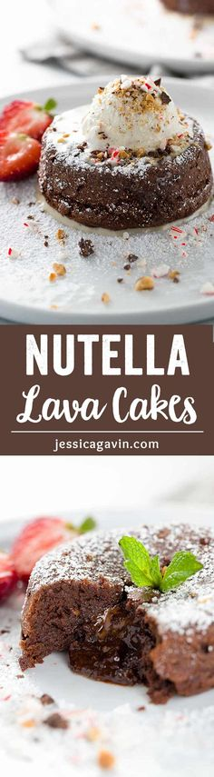 Gluten Free Nutella Chocolate Lava Cakes - Add your favorite toppings to customize this delicious dessert with molten chocolate hazelnut filling. via @foodiegavin
