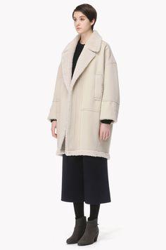 Oversized shearling wool coat