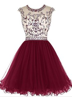 Short Beading Prom Dress Tulle Evening Dress Hollow