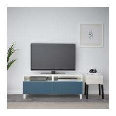 BESTÅ Tv-meubel met lades - wit/Valviken donkerblauw, laderail, zachtsluitend - IKEA