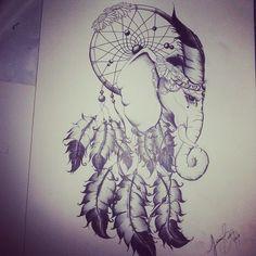 elephant dream catcher tattoo idea Girls name in it Atrapasueños Tattoo, Kopf Tattoo, Tattoo Drawings, Future Tattoos, Love Tattoos, Beautiful Tattoos, Body Art Tattoos, Tatoos, Sagitarious Tattoos