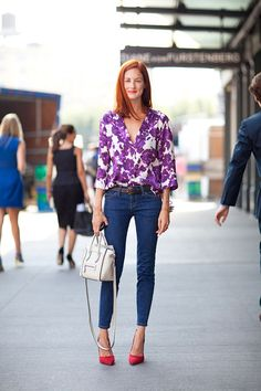 Taylor Tomasi Hill [source: harper's bazaar]  cool red shoes with the purple floral shirt