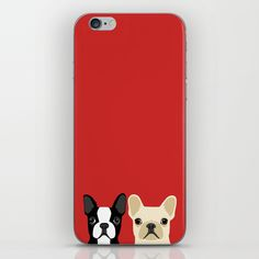 Boston Terrier & Cream French Bulldog RED by Anne Was Here on Society6