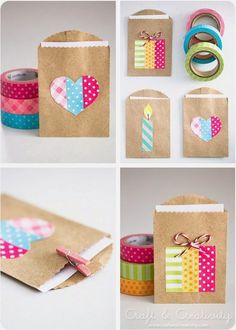 Simple party favor gift bags made with washi tape! Perfect for DIY wedding, birthday, graduation, and more. Just use little brown paper bags and let the washi tape be your fun design. Crafts For Teens, Diy And Crafts, Paper Crafts, Teen Crafts, Fabric Crafts, Small Gift Bags, Small Gifts, Washi Tape Crafts, Washi Tapes