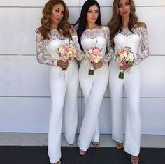 custom made this long sleeves off shoulder bridesmaid pants evening dress, we sell dresses online all over the world. Also, extra discount are offered to our customers. We will try our best to satisfy everyone and make the dress fit you we Lace Bridesmaid Dresses, Wedding Party Dresses, Wedding Bridesmaids, Bridesmaid Jumpsuits, Bridesmaid Outfit, Engagement Party Dresses, Party Gowns, White Jumpsuit Formal, White Lace Jumpsuit