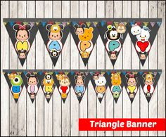 80% OFF SALE Chalkboard Tsum Tsum Triangle Banner by isaprintables