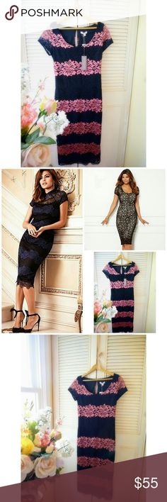 Eva Mendes Gorgeous Black Pink Lace Dress New with Tags * Gorgeous Black Pink Lace Bodycon Eva Mendes Dress * Very flattering form fitting  * Perfect Date Night Dress * Brand Eva Mendes  >> Bundle & Save >> Fast Shipping >> Free Gift with every purchase 🎁 Asos Dresses Midi