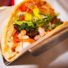 Shrimp Taco With Tinga De Flor De Jamaica (Hibiscus), Chipotle, Onions  Topped With Mango Habanero Salsa