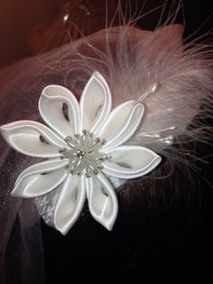 First communion headband white satin feathers pearls by 3BusyBirds, $22.00