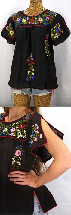 """Siren's """"La Lijera"""" Mexican blouse.  Split sleeves and vented bottom hem flourish; hand embroidered with hand crocheted trim; dyed and distressed by hand for a retro vintage feel!  SirenSirenSiren.com"""