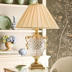 Decorative Crafts Brass & Crystal Table Lamp This Gorgeous Antiqued solid brass and cut crystal lamp with round pleated fabric shade. Will light up the room with class and elegance. Decor, Decor Crafts, Crystal Table Lamps, Crystal Lighting, Lamp, Crystal Light Fixture, Modern Accent Tables, Home Decor, Fabric Shades