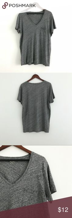 "Madewell Whisper Cotton V-neck Pocket Tee Madewell Whisper Cotton V-neck Pocket Tee in Hthr Pewter  Good pre-owned condition, there's a small hole inside neckline as shown in photo.  Size XL 100% Cotton Machine Wash Cold  Approx. Measurements:     Length: 28""    Bust: 21"" across Madewell Tops Tees - Short Sleeve"