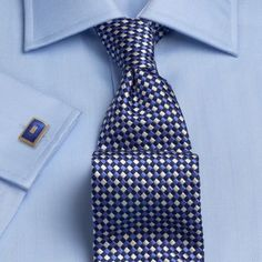 TM Lewin Regular Fit Blue Herringbone  Shirt. SB: Take a close look at the lovely herringbone pattern on this shirt. Tie goes really nicely as well