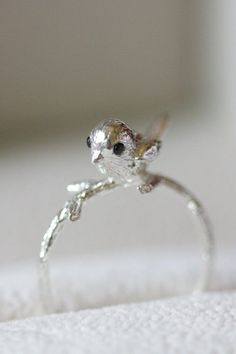 Sterling silver little bird ring statement ring by TedandMag