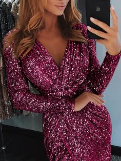 c7898067f16 Shop Wrap Ruched Irregular Sequin Party Dresses – Discover sexy women  fashion at IVRose