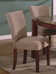 """Set of 2 Taupe Beige Suede Parsons Dining Chair/Chairs by Coaster Home Furnishings. $178.60. Some assembly may be required. Please see product details.. Dining and Kitchen. 19""""W 23.5""""D 38""""H. Dining and Kitchen->Seating->Parson Chairs. Set of 2 Taupe Beige Suede Parsons Dining Chair/Chairs This is a brand new set of two Parsons Dining Chair/Chairs in Taupe. The parson chairs are crafted from solid woods and covered with taupe suede. The seat cushion is well padded that is du..."""