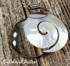 Magnifying Glass Necklace, Sterling Silver and Mother of Pearl Necklace