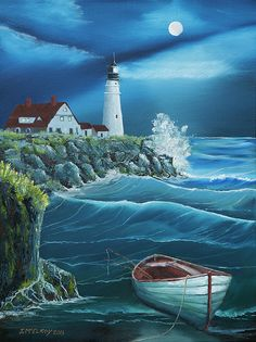 Ocean Scene Painting - Portland Head Lighthouse by Jerry McElroy Lighthouse Painting, Lighthouse Pictures, Pictures To Paint, Nature Pictures, Beautiful Pictures, Ocean Scenes, Nature Scenes, Sea Art, Landscape Drawings