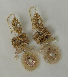 Antique Mexican Earrings, Oaxaca, circa 1910; Colonial Arts