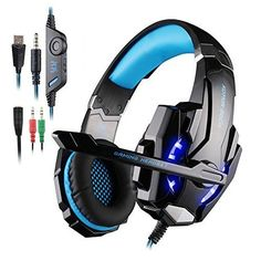 Megadream KOTION EACH Music Game Gaming Overear Headphone Headset with LED Light Handsfree Microphone for Sony PlayStation PC Laptop Computer Tablet Smartphone with Connector Cable * You can get more details by clicking on the image. Gaming Headphones, Headphones With Microphone, Headphone With Mic, Skullcandy Headphones, Beats Headphones, Xbox 360, Ps4 Or Xbox One, Mac Laptop, Computer Laptop