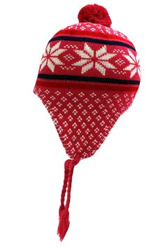 Snowflake Knit Hat With Tassels