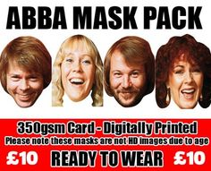 ABBA Celebrity Face Mask Pack of 4:Amazon.co.uk:Toys & Games