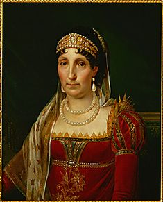Laetitia Bonaparte, Napoleon's mother, wearing a pearl, gold and cameo tiara