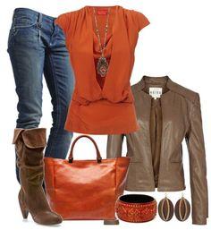 Das macht Lust auf den Tag! Jeansoutfit mit Orange und Braun kombiniert