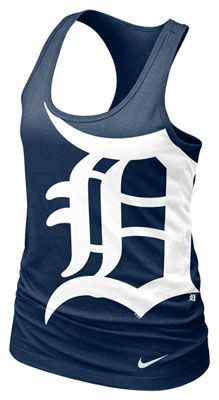 Detroit Tigers MLB Nike Womens Navy Cotton Racerback Tank Check out the website to see more