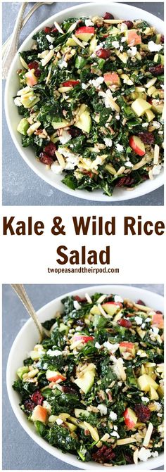 Kale and Wild Rice Salad Recipe on http://twopeasandtheirpod.com This kale salad is FULL of flavor! It has apples, dried cranberries, almonds, wild rice, goat cheese, avocado, and the BEST lemon basil dressing! Everyone that tries this salad LOVES it!