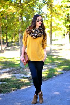 Top: Stella Rae, Scarf: H&M, Pants: H&M, Boots: Vince Camuto