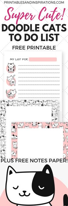 Doodle cats, free printable to do list, weekly to do list printable, cute cats planner printables, printable planner stickers with cat design Free Planner, Planner Pages, Happy Planner, Planner Stickers, To Do Lists Printable, Free Printables, Free Printable Planner, Free To Do List, Decoration Stickers