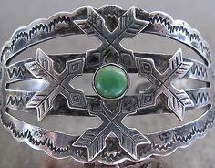 Vtg Old Dead Pawn Fred Harvey Era Turquoise Navajo Sterling Silver Cuff Bracelet | eBay