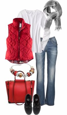 I really like this.  Again, surprised by the red, but I dig it.  I would make the jeans straight leg with the sneaks.