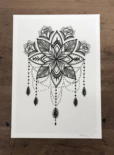 Mandala Illustration Tattoo Art Pen en inkt tekenen 5 x