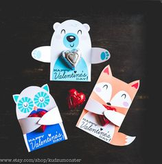 Woodland Classroom Candy Holder valentines cute animals hug individual candy valentine card owl polar bear fox Valentine's day candy holders