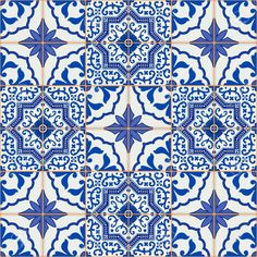Gorgeous Seamless Patchwork Pattern From Dark Blue And White Moroccan, Portuguese Tiles, Azulejo, Ornaments. Stock Vector - Illustration of portuguese, cute: 59925925 Turkish Tiles, Portuguese Tiles, Moroccan Tiles, Moroccan Pattern, Moroccan Design, Patchwork Patterns, Mosaic Patterns, Tile Decals, Tiles Texture