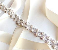 Crystal Pearl Weave Bridal Belt Sash - Custom Ribbon - White Ivory Silver - Rhinestone Pearl - Wedding Dress Belt - Extra Long. $48.00, via Etsy.