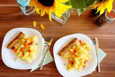 Colorful, vegan potato salad