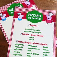 Cardápio Festa Pizzaria da Peppa e George | Design Festeiro
