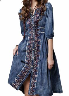 Bohemian Vintage Dress - Knee length Cotton BlendBohemian Vintage Dress. Great details and super comfy. - On Sale for $49.00 (was $56.00)