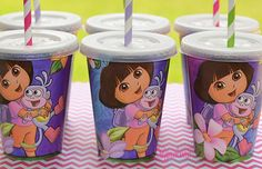 Kids Party Cups-Dora the Explorer Birthday Party-Set of 8 on Etsy, $12.40