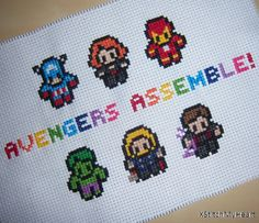 Avengers Assemble Marvel Cross Stitch Pattern by XStitchMyHeart, £2.50 This is TOO cute.
