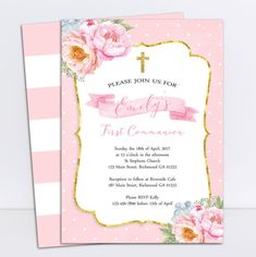 Girls First Communion Invitation Communion by PrettyLittleInvite