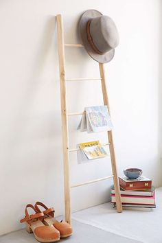 Willow Ladder Shelf. Secure to the wall, wrap twinkle & lantern lights around it for the corner behind the swing nursing chair. :D